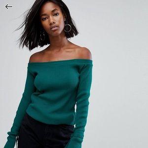 Green off the shoulder top